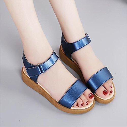 La Moda De Verano Sandalias Planas Señoras Pezón Fondo Blando Expuestos Toe Sandalias, 37 Eu, Azul