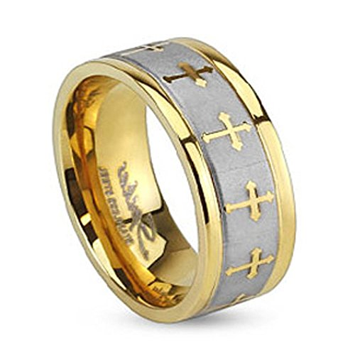 - Stainless Steel Two Tone Gold IP Wedding Band with Celtic Cross Design Brushed Center Finish, Ring Width of 6MM