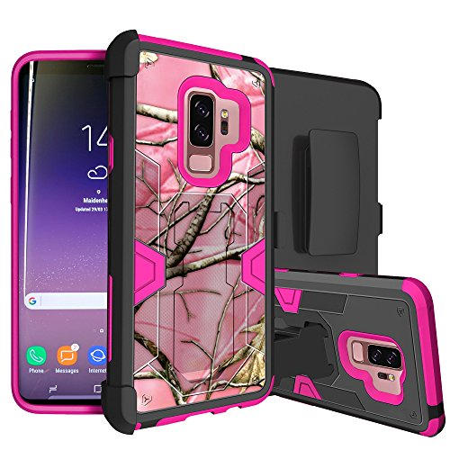 MINITURTLE Case Compatible w/Galaxy S9 Plus Rugged Holster Case w/Stand Galaxy S9 Plus SMG965 Case w/HighImpact Silicone Interior & Hard Shell Pink Tree Camo
