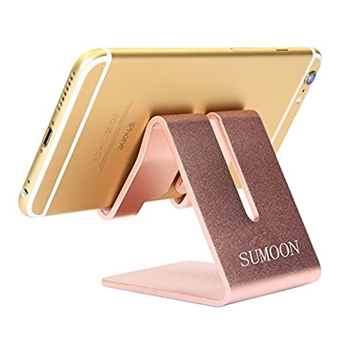 SUMOON Solid Portable Aluminum Desktop Stand Smart Phone Holder for Desk Bed,iPad Mini Stand Tablet Stands for iPhone 7 3G 3GS Ipad 2,Ipad 3 Ipad 4,Ipad Mini,iPod touch Samsung (Rose (Android S4 Privacy Screen)