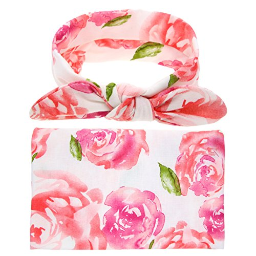 Newborn Floral Swaddle BQUBO Receiving Blanket With Headbands Toddler Warm Baby Shower Gift(Pack 1) (Pink B)]()