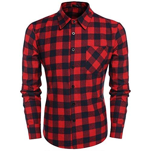Rouge 2 Fit Chemise xxxl Slim Coofandy S Homme Italien Longue Coton Noir Carreaux Casual Taille Et Manche À Col gaSCxqwa