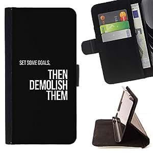 Momo Phone Case / Flip Funda de Cuero Case Cover - Objetivos Motivaciones Insignia Texto Negro - Samsung Galaxy S5 Mini, SM-G800