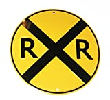 "RR Railroad Xing Crossing 12"" Road Sign Tin/Metal"