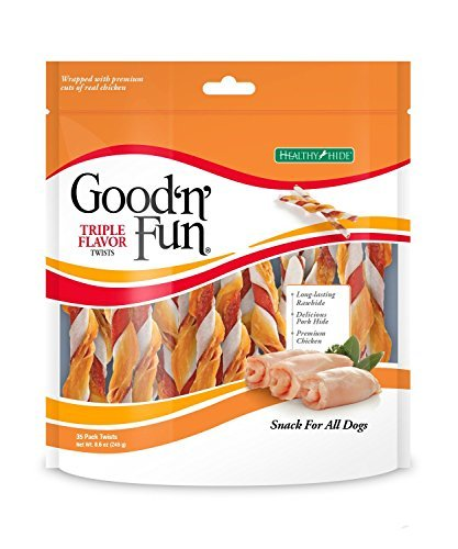 - Good'n'Fun Healthy Hide Triple Twists Snack For Dogs Treats, 8.6 oz.