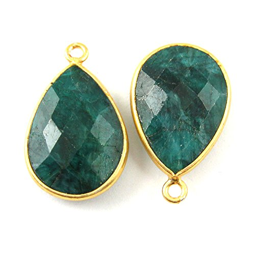 Gemstone Pendant - 13x18mm Faceted Pear Shape - Emerald Dyed - May Birthstone ( 2 Pieces)