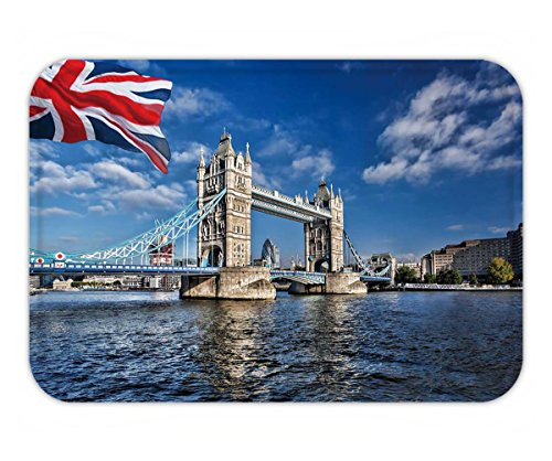 Beshowere Doormat famous tower bridge with flag of england in london - In London Tiffanys