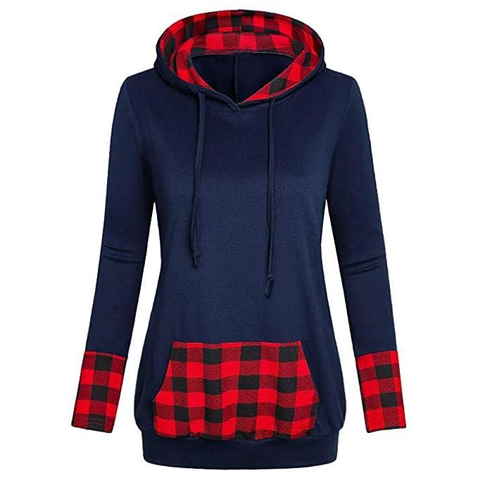 LEEDY Plaid con Capucha Delgada para Mujer con Camisa de Cuello en V con Cuello en Diagonal y Blusa Superior: Amazon.es: Ropa y accesorios