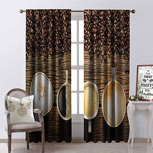 GloriaJohnson Coffee Heat Insulation Curtain Assortment of Coffee Cups with Beans on Wooden Table Americano Cappuccino Mug for Living Room or Bedroom W52 x L95 Inch Brown White