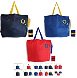O2 Foldable Shopping Bag, Handbag, Travel Bag – Large Size Lightweight Heavy Duty Shoulder Bag With Long Handles, Folds to Pocket Size (Royal Blue. Navy Blue and Red Colour, Pack of 3 Bags)