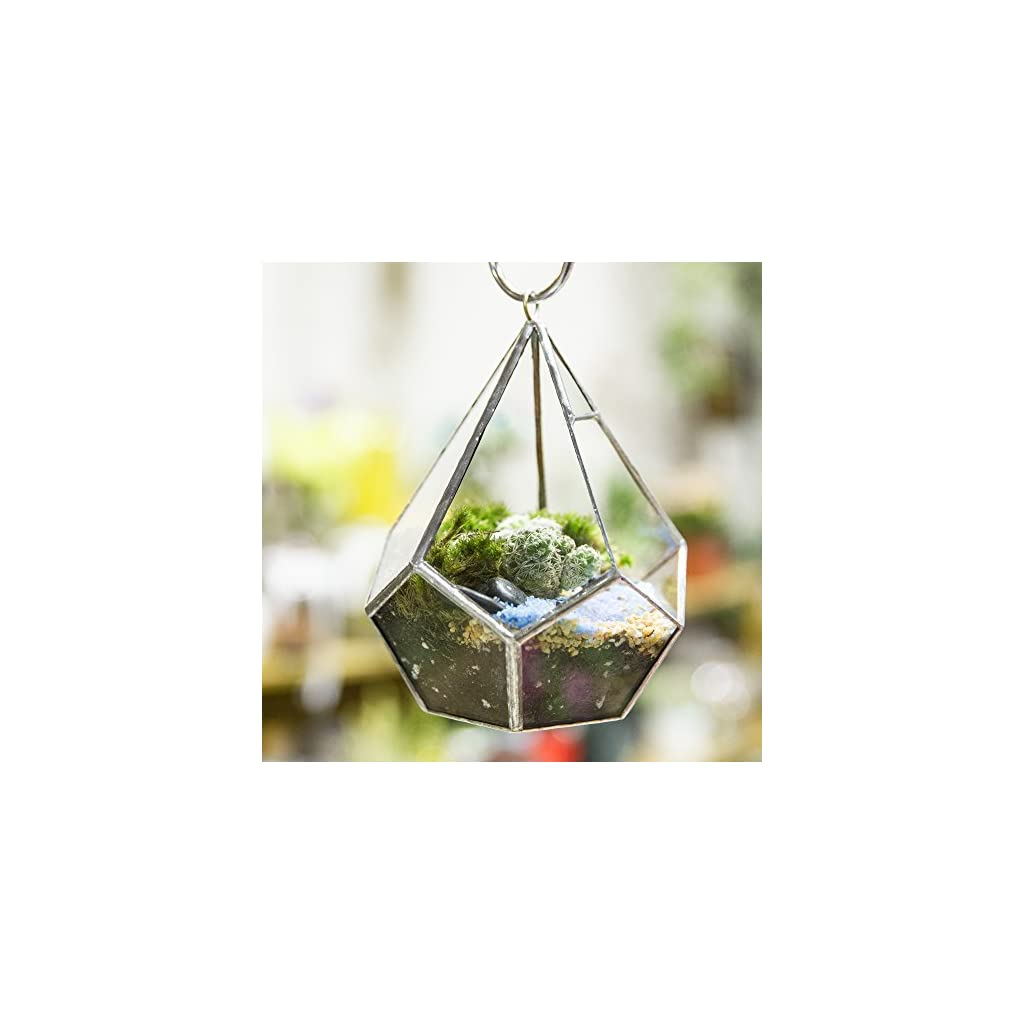 5.3 inches Silver Handmade Wall Hanging Geometric Glass Terrarium Window Sill Balcony Succulent plants Planter Small Indoor Decoration Flower Pot Vase Centerpiece for Wedding Coffee Table (No Plants)