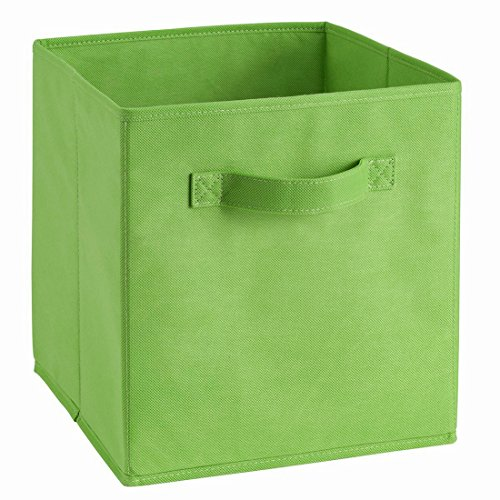 Uworld Single Handle Nonwoven Storage Bins,Foldable Cube Organizers Basket Without Cover (Green)