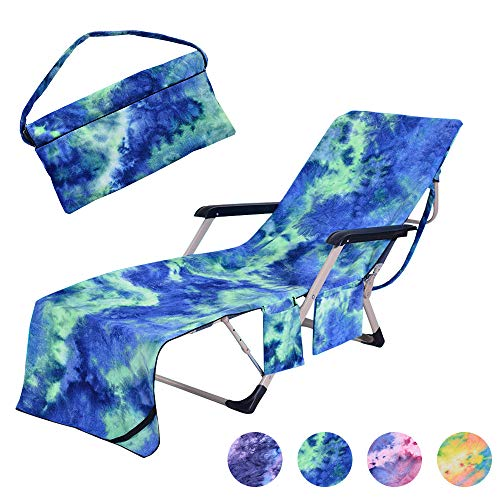 MIFXIN Beach Chair Cover Towel Lounge Chair Towel Cover with Side Storage Pockets Microfiber Terry Beach Towel for Pool Sun Lounger Sunbathing Vacation 82.5