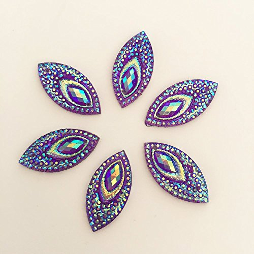 FunnyCraft (20Pieces/Lot) Ab Resin Horse Eye Flatback Peacock Eye Rhinestone Wedding Decoration 2 Hole Scrapbooking Embellishments