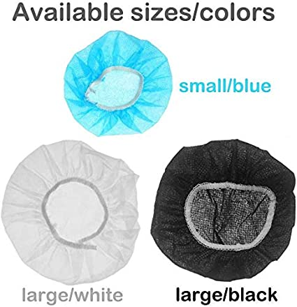 L - 11cm Tvoip 100Pcs Blue Non-Woven Sanitary Headphone Ear Cover Disposable Super Stretch Covers Germproof Deodorizing and Washable for Most On Ear Headphones with 8.5~10cm Earpads
