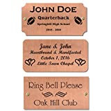 2'' H x 4''W, Satin Copper Name Plate, Customized Nameplate Memorial Tag Personalized Custom Logo, Black Text, Square, Rounded or Notched, Made in USA
