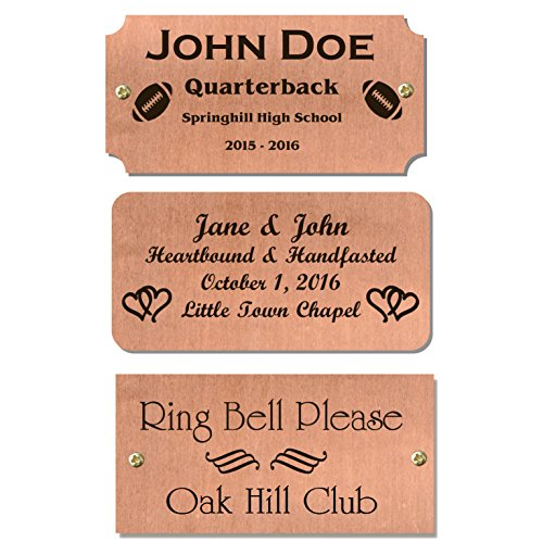 Copper Trophy Base Sign Nameplate Memorial Tag Personalized Custom Logo 2'x4' Satin Finish Black Text Made in USA