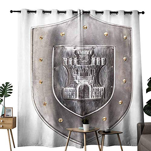 Windshield Curtain Medieval Decor Collection Old Medieval Iron Shield Middle Age War Military Heraldic Elements Vintage Icons Print Grey White Thermal Insulated Tie Up Curtain W84 xL84