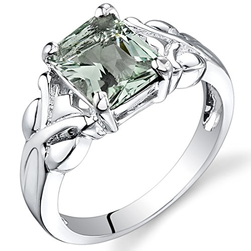 2.00 carats Radiant Cut Green Amethyst Ring in Sterling Silver Rhodium Nickel Finish size 5 ()