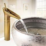 Luxury Antique Copper Bathroom Vessel Sink Faucet Mixer Tap Single Handle single Hole vintage centerset Vanity Bathroom bathtub Faucets Widespread Lavatory faucet Deck Mount