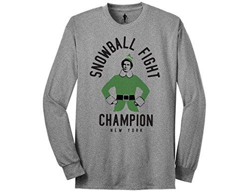 Ripple Junction Elf Snowball Fight Champion Adult Crew Long Sleeve Shirt Medium Heather Grey