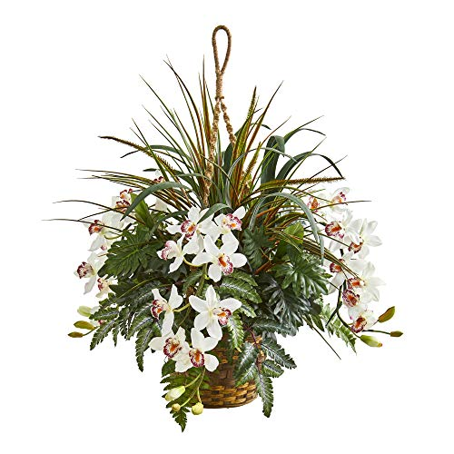 Nearly Natural 8382 29-in. Cymbidium Orchid and Mixed Greens Artificial Hanging Basket Silk Plants White (Orchids Green Silk Cymbidium)