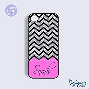 Monogram iPhone 5 5s Case - Black Glitter Pink Pattern iPhone Cover (NOT A REAL GLITTERS)
