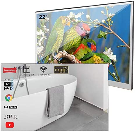 Soulaca 22 inches Bathroom Magic Mirror LED TV Android 7.1 IP66 Waterproof Embedded Shower Television (Velasting FBA)
