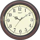 Rikon Quartz Plastic Round Shape 30 Cm X 30 Cm Fancy Premium Home Decor Wall Clock (Wood Ivory) For Home And Office