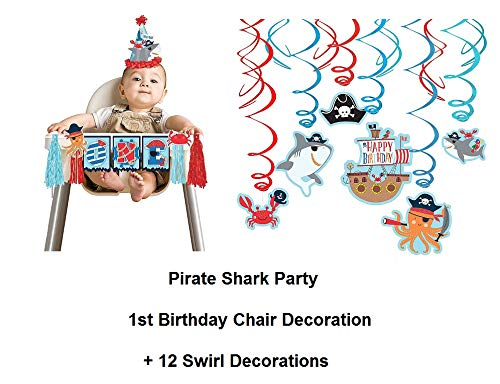 - Shark Pirate Ocean 1st Baby High Chair Banner Blue Decoration Plus Swirl Decorations 12ct -1st Birthday and BIRTHDAY CARD