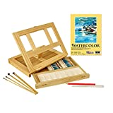 US Art Supply Wood Easel Box Set with 12 Colors, Canvas Panels, Brushes, Palette, Pencil & Knife (Watercolor Paint Kit)
