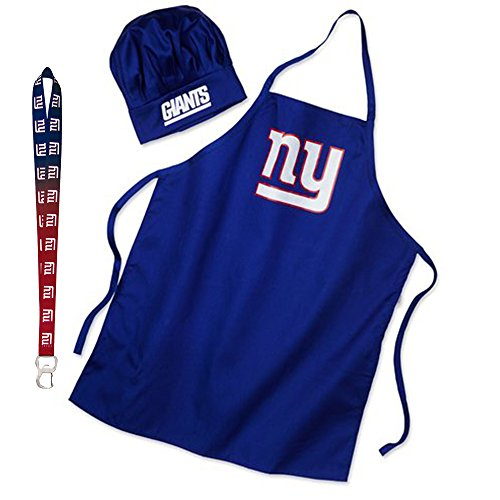 Pro Specialties Group New York Giants NFL Barbeque Apron and Chef's Hat with Bottle Opener