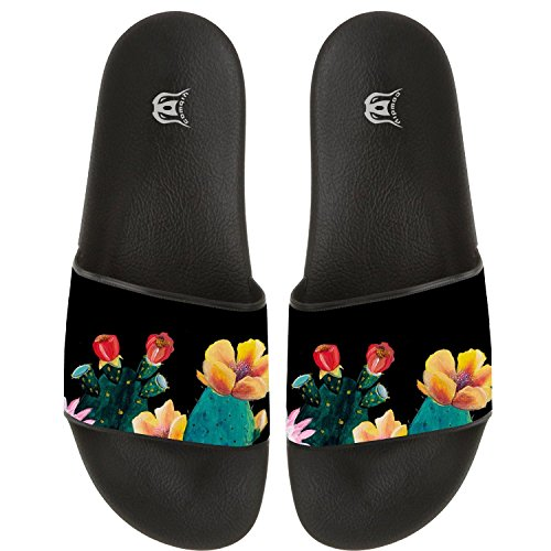 COWDIY Cute Cactus and Flower Beach Sandal Slippers Bath Slippers Summer Sandals for Bathroom Living Room Swimming Pool Indoor and Outdoor Use