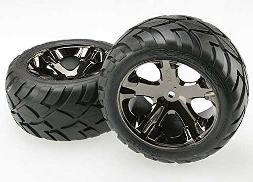 Traxxas 3773A Anaconda Tires Pre-Glued on All Star black chrome wheels (pair) ()