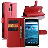 ZTE Axon Pro Case, Fettion Premium PU Leather Wallet Phone Cases Flip Cover with Stand Card Holder for ZTE Axon Pro Smartphone (Wallet - Red)