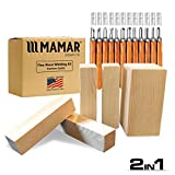 MAMAR Pine Wood Carving Whittling Kit - 12 Piece SK10 Carbon Steel Tools and 5 Large Wood Blocks Bundle - Whittlers Pick...