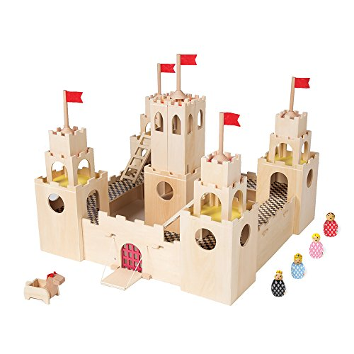 Image of the Manhattan Toy MiO Wooden Castle + Horse + 4 Bean Bag People Peg Dolls Imaginative Montessori Style STEM Learning Modular Wooden Building Playset for Boys and Girls 3 Years + Up by