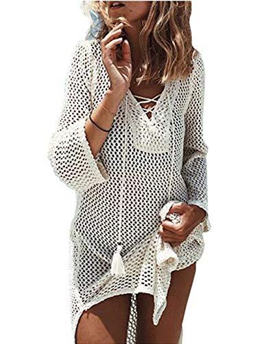 (QIUYEJUO Women's Crochet Bathing Suit Cover Up Bikini Swimsuit Swimwear Beach Dress Cream White)