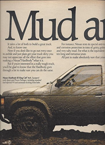 PRINT AD For 1988 White Nissan Hardbody SE King Cab 4x4 Mud And Guts