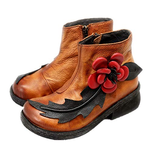 ZHRUI Women Soft Boots Handmade Leather Flower Zipper Vintage Shoes (Color : Brown, Size : UK 4.5) Brown