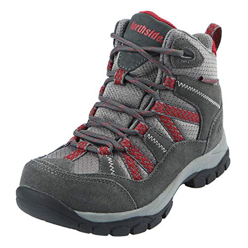 Northside Unisex Freemont Waterproof Hiking Boot, Dark Gray/red, 12 Medium US Little Kid