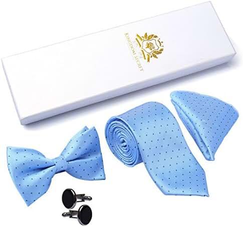Mens Floral Paisley Wedding Necktie Bow Tie Pocket Square Cuff Link Set