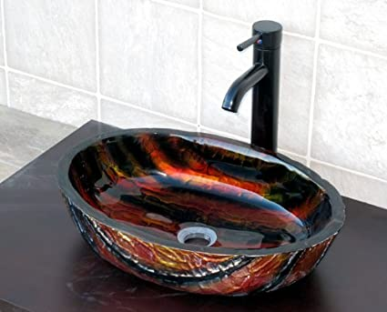 Bathroom Artistic Oval Glass Vessel Sink 9001 Combo With Oil Rubbed Bronze  Faucet+drain
