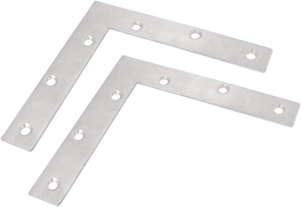 BTMB 2 Pcs Stainless Steel L Shape Corner Brace Furniture Flat Repair Plate Right Angle Bracket 150x150mm/5.9''x5.9''
