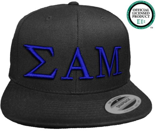 SIGMA ALPHA MU Flat Brim Snapback Hat Royal Letters / SAM | Sammy Frat | Fraternity Cap