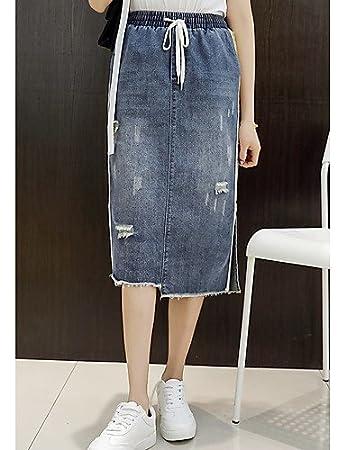 fab810321 DESY Women Casual/Routine Midi Skirt Pencil Plain Striped Spring Summer,  Blue