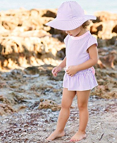 RuffleButts Little Girls Peplum Skirt One Piece Rash Guard Swimsuit - Lilac Seersucker - 2T by RuffleButts (Image #2)