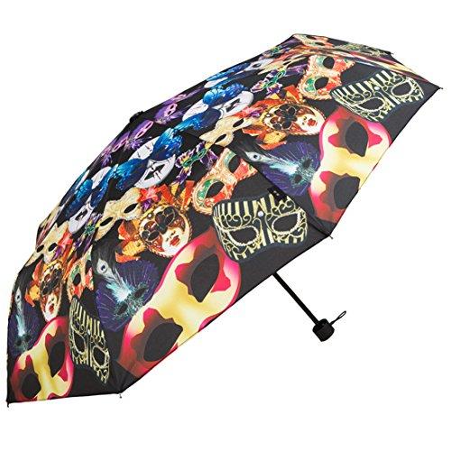 Kung Fu Smith Masquerade Leopard Print UV Protection Rain Sun Travel Compact Umbrella, Full Masquerade Mask