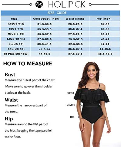 Holipick Off Shoulder One Piece Swimsuits for Women Flounce Ruffle Bathing Suits Tummy Control Swimwears