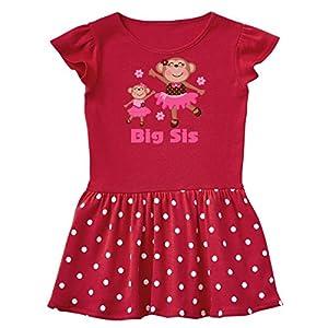 inktastic Big Sister Sibling Monkey Toddler Dress 2T Red with Polka Dots ecac